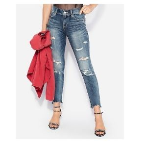 Express Jeans Distressed Cropped Skinny Ankle